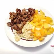 Żołądki drobiowe z ryżem białym i papryką żółtą