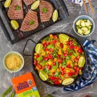 Arroz con verduras y atún a la parrilla, czyli ryż w hiszpańskim stylu z warzywami i grillowanym tuńczykiem