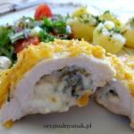 Kieszonki z kurczaka w płatkach kukurydzianych z serem pleśniowym