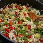 Letnie danie z cukinią, ryżem i czym kto chce