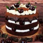 Tort kasztanowo-kakaowy z jogurtowym kremem i czereśniami (bez glutenu, cukru białego)
