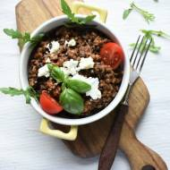 Kaszotto z kurkami, suszonymi pomidorami i czarną soczewicą