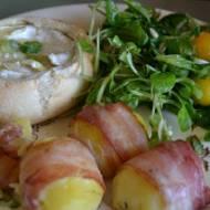 Zapiekany Camembert z ziemniakami i boczkiem