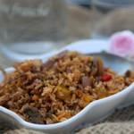 Zapiekanka  z ryżem warzywami i mięsem