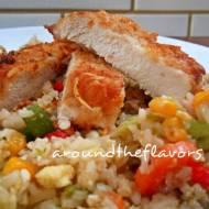 Kotlety z indyka z ryżem i warzywami