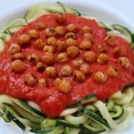Makaron z cukinii – spaghetti w sosie z pieczonej papryki