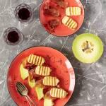 Melon z jamón serrano i grillowanym serem halloumi