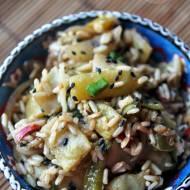 Fasolka szparagowa z ciemnym ryżem