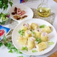 Zimne cannelloni z mozarellą, ricottą, bakaliami i szynką parmeńską