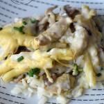 Zapiekanka ryżowa z kurczakiem, pieczarkami i fasolką szparagową
