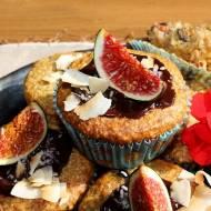 Muffiny orzechowo-kokosowe z figami i polewą czekoladową