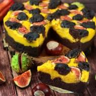 Serniko-brownie z dynią, pomarańczą i figami (bez glutenu, cukru białego, laktozy, wegańskie)