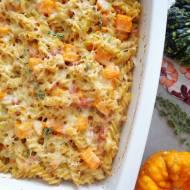 Makaronowa zapiekanka z porem, dynią i boczkiem (Sformato di pasta con zucca, porri e pancetta)