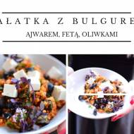 Sałatka z kaszą bulgur, fetą, oliwkami, suszonymi pomidorami i natką pietruszki