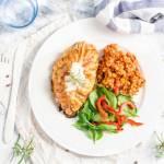 Kurczak ze szpinakiem i fetą w cieście francuskim