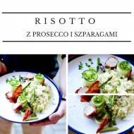 Risotto ze szparagami i Prosecco/ polędwiczka wieprzowa w szynce parmeńskiej/ chips z szynki/ ogórek