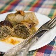zapiekane gołąbki z mięsem, ryżem i grzybami
