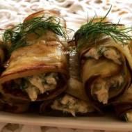 Roladki z bakłażana z serem i zieleniną