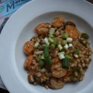 Kaszotto z krewetkami i serem gorgonzola