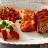 Puree  z kalafiora w towarzystwie ryby i marchewki z groszkiem