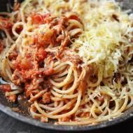 Spaghetti z szarpaną wieprzowiną