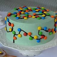 ŚWIĄTECZNY TORT Z LAMPKAMI – tort szarlotka
