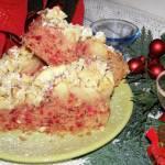 ciasto drożdżowe buraczkowo-fasolowe z szarą renetą, kruszonką...