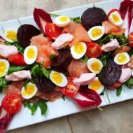 Pomysł na świąteczną i sylwestrową przystawkę z jajek przepiórczych, łososia wędzonego, buraków karmelizowanych,  pasty Tarama o