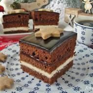 Piernik herbaciany z kremem grysikowym i powidłami