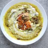 Zupa krem z warzyw z pieczonym łososiem i karmelizowanym porem