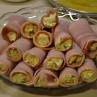 Ruloniki z szynki z pastą jajeczną