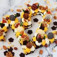 Number cake z kruchego ciasta, z kremem kokosowym i dyniowym   (bez glutenu, cukru białego)