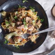Makaron z kaczką i grzybami / Pasta with roasted duck and mushrooms