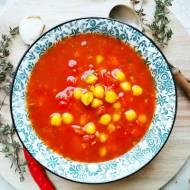 Wegetariańska zupa pomidorowa z ciecierzycą, prażoną szalotką oraz tymiankiem (bez tłuszczu)