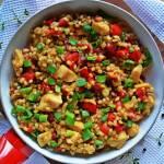 Pęczotto z kurczakiem, warzywami i szczypiorem