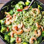 Pyszny obiad – spaghetti z pesto i krewetkami