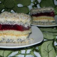 Ciasto makowe z galaretką i wiśniami