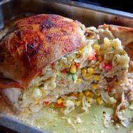 Kurczak faszerowany makaronem , obiad jednogarnkowy