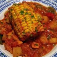 Argentyna - Kukurydza duszona w sosie z brzoskwiniami i gruszką (Carbonada)