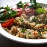 Kasza gryczana lub makaron z warzywami i kurczakiem