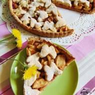Wiosenna tarta z jabłkami na orkiszowym spodzie.