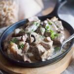 Stek w śmietankowym sosie z grzybami / Creamy steak with mushrooms