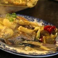 Zapiekanka ze schabem i sosem beszamelowo serowym