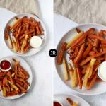 Frytki z piekarnika – frytki z batatów, ziemniaków i warzyw korzeniowych