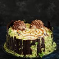 Tort kakaowo - kawowy z jeżami