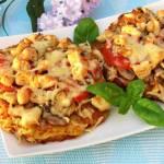 Placki ziemniaczane a'la pizza z kurczakiem i pieczarkami