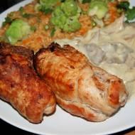 Pieczarkowe zrazy z szynki , pyszny obiad
