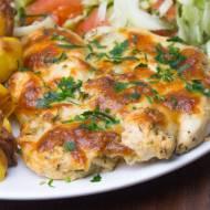 Polędwiczki z kurczaka pieczone w musztardzie i tartym serze