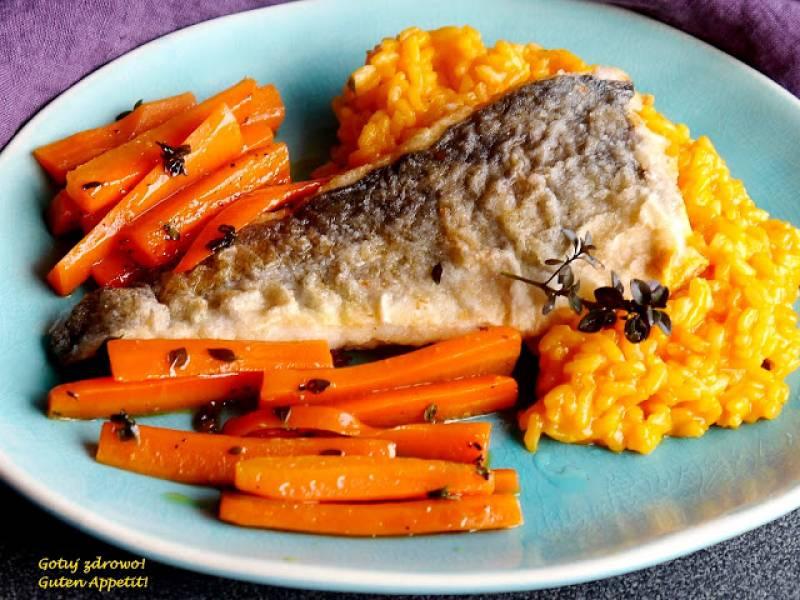 Dorsz z marchewkowym risotto i karmelizowaną marchewką