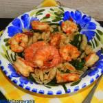 Krewetki ze szpinakiem  i makaronem ryżowym